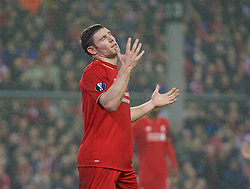 LIVERPOOL, ENGLAND - Thursday, November 26, 2015: Liverpool's James Milner looks dejected after missing a chance against FC Girondins de Bordeaux during the UEFA Europa League Group Stage Group B match at Anfield. (Pic by David Rawcliffe/Propaganda)