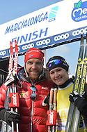 43° Marcialonga Fiemme e Fassa, sci da fondo gara a 70km a tecnica classica,a sinistra Gjerdalen Tord Asle e Britta Johansson,31 gennaio 2016 © foto Daniele Mosna