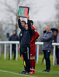 DERBY, ENGLAND - Friday, March 8, 2019: The referee puts up the board to indicate that Liverpool's number eight Alex Oxlade-Chamberlain is to be substituted during the FA Premier League 2 Division 1 match between Derby County FC Under-23's and Liverpool FC Under-23's at the Derby County FC Training Centre. (Pic by David Rawcliffe/Propaganda)