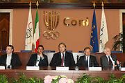 ROMA 12 MAGGIO 2010<br /> BASKET FIP<br /> CONFERENZA STAMPA BELINELLI E CUZZOLIN<br /> NELLA FOTO CUZZOLIN MENEGHIN BELINELLI PETRUCCI PAGNOZZI <br /> FOTO CIAMILLO