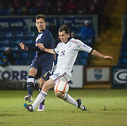 Ross County's Paul Lawson and Dundee's Ross Chisholm - Ross County v Dundee - Irn Bru Scottish Football League First Division at Victoria Park, Dingwall..- © David Young - .5 Foundry Place - .Monifieth - .DD5 4BB - .Telephone 07765 252616 - .email; davidyoungphoto@gmail.com - .web; www.davidyoungphoto.co.uk