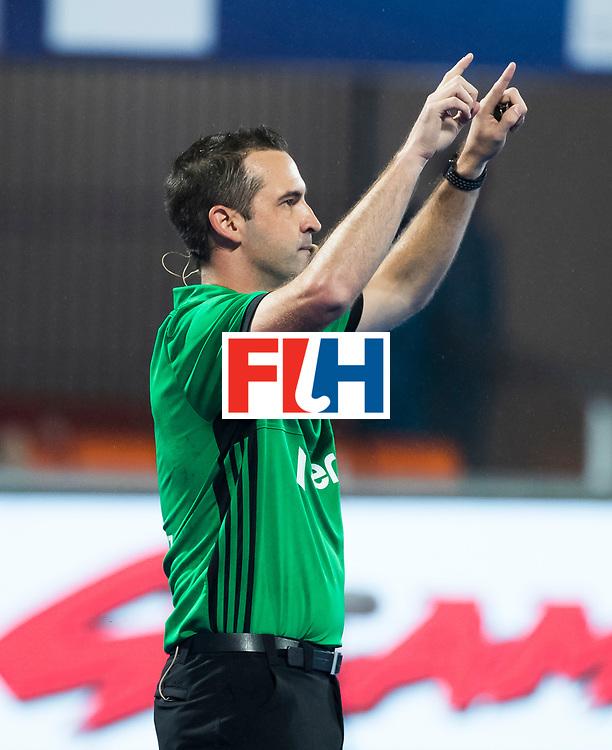 BHUBANESWAR - Video . scheidsrechter, umpire Ben de Young.   Hockey World League finals , wedstrijd om de 5e plaats. Belgie-Spanje.  COPYRIGHT KOEN SUYK