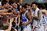 DESCRIZIONE : Campionato 2014/15 Dinamo Banco di Sardegna Sassari - Umana Reyer Venezia<br /> GIOCATORE : Edgar Sosa Brian Sacchetti<br /> CATEGORIA : Post Game Postgame Esultanza Tifosi Pubblico<br /> SQUADRA : Dinamo Banco di Sardegna Sassari<br /> EVENTO : LegaBasket Serie A Beko 2014/2015<br /> GARA : Dinamo Banco di Sardegna Sassari - Umana Reyer Venezia<br /> DATA : 03/05/2015<br /> SPORT : Pallacanestro <br /> AUTORE : Agenzia Ciamillo-Castoria/C.Atzori