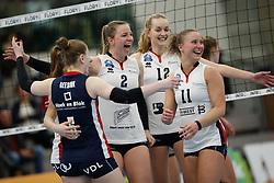 20190112 NED: Sliedrecht Sport - VC Sneek: Sliedrecht<br />Vreugde bij Sliedrecht Sport, oa Brechtje Kraaijvanger (2), Denise de Kant (12) en Ana Rekar (11) of Sliedrecht Sport <br />©2019-FotoHoogendoorn.nl / Pim Waslander