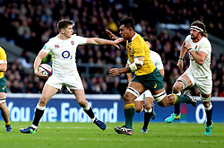 Owen Farrell of England hands off Lopeti Timani of Australia - Mandatory by-line: Robbie Stephenson/JMP - 03/12/2016 - RUGBY - Twickenham - London, England - England v Australia - Old Mutual Wealth Series
