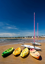 Sailing boats on beach at seaside town of Elie in Fife Scotland