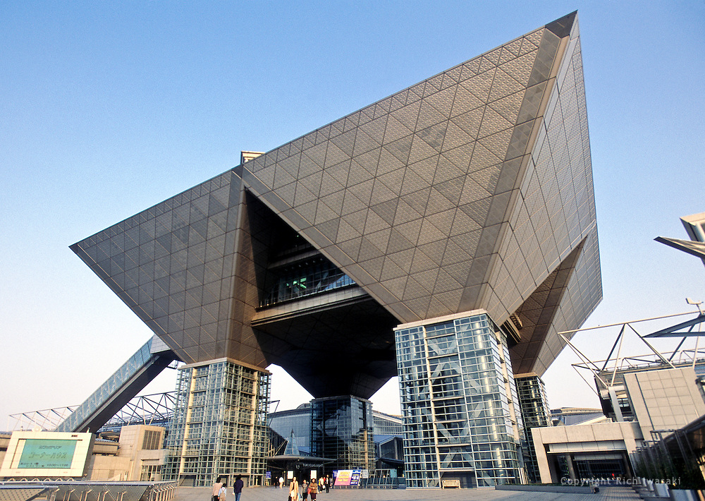 Exterior view of the Conference Tower of Tokyo International Exhibition Center, Odaiba district, Tokyo, Japan. Nicknamed Tokyo Big Sight, it is one of the largest convention facilities in Japan.
