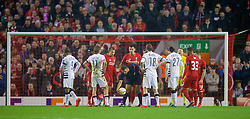LIVERPOOL, ENGLAND - Thursday, November 26, 2015: Israel referee Alon Yefet puts the ball down after awarding an indirect free-kick to FC Girondins de Bordeaux in the Liverpool penalty area during the UEFA Europa League Group Stage Group B match at Anfield. (Pic by David Rawcliffe/Propaganda)
