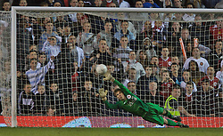 Manchester, England - Thursday, April 26, 2007: Liverpool's Craig Lindfield scores his side's second penalty of the shoot-out past Manchester United's goalkeeper Ron-Robert Zieler during the FA Youth Cup Final 2nd Leg at Old Trafford. (Pic by David Rawcliffe/Propaganda)