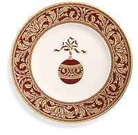 Christmas ornament plate on white background