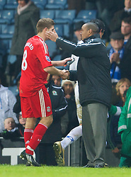 BLACKBURN, ENGLAND - Saturday, December 6, 2008: Liverpool's captain Steven Gerrard MBE and Blackburn Rovers' manager Paul Ince during the Premiership match at Ewood Park. (Photo by David Rawcliffe/Propaganda)