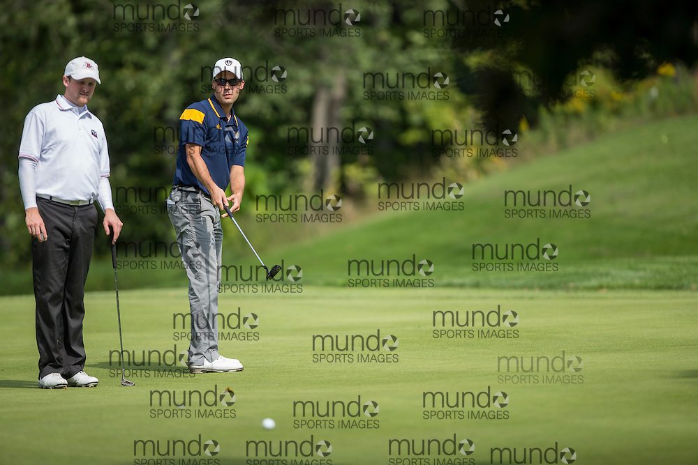The Windsor Lancers golf team competes at the 2014 Western Invitational at the St. Thomas Golf and Country Club near St.Thomas, Ontario, Thursday,  September 18, 2014.<br /> Mundo Sport Images/ Geoff Robins
