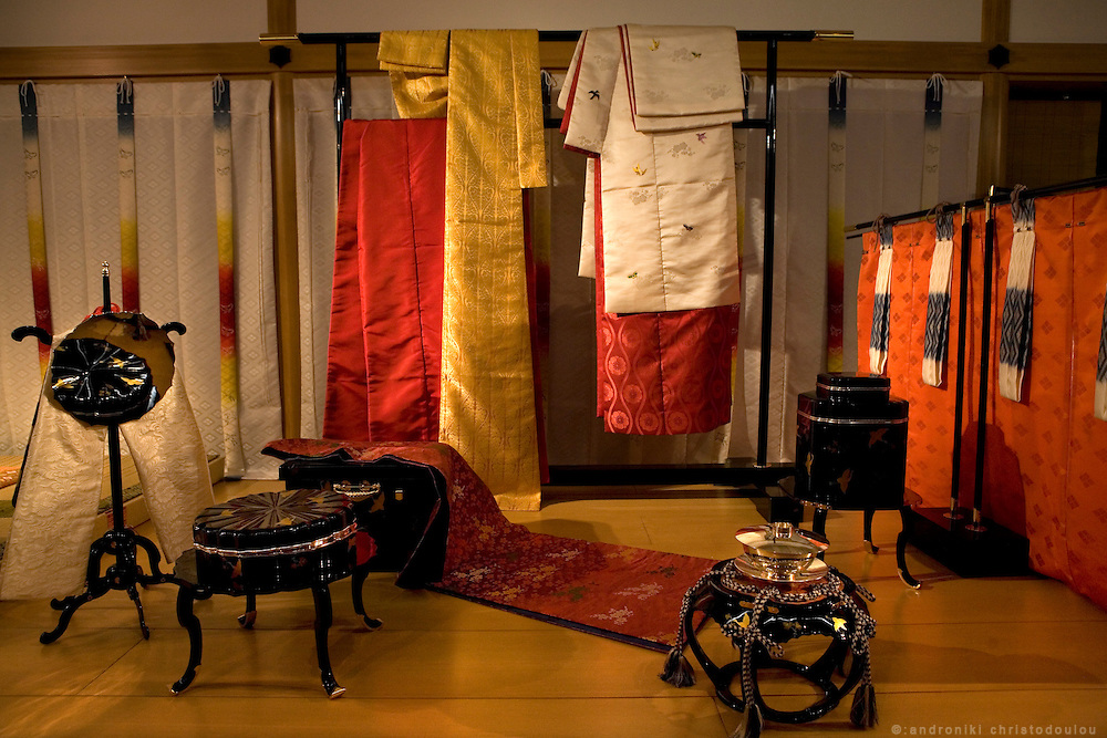 "Culture of the Imperial Court and Annual Events at the time when the novel ""The Tale of Genji"" was written, a 1000 years ago, as it is presented in the Genji museum of Uji city south of Kyoto..The aristocrats' costumes and the furnishings of their residences are shown in a 'shinden-zukuri' structure, a typical style of residence in the Heian Period. There are also exhibits introducing games often played by the Heian nobility, such as 'kai-awase' (a shell-matching game), 'igo' (also known as 'go') and 'sugoroku' (a board game), along with the annual events in the Heian Period for each season. This all helps to provide a clear insight into the culture of the imperial court.."