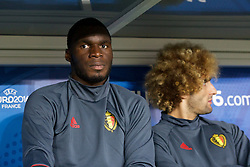 LILLE, FRANCE - Friday, July 1, 2016: Belgium's Christian Benteke sits on the substitutes bench ahead of the UEFA Euro 2016 Championship Quarter-Final match against Wales at the Stade Pierre Mauroy. (Pic by Paul Greenwood/Propaganda)