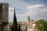 A view of the clocktower and the Palais de Papes in Avignon, France