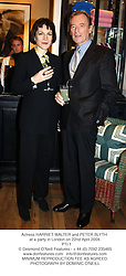 Actress HARRIET WALTER and PETER BLYTH at a party in London on 22nd April 2004.<br /> PTI 1