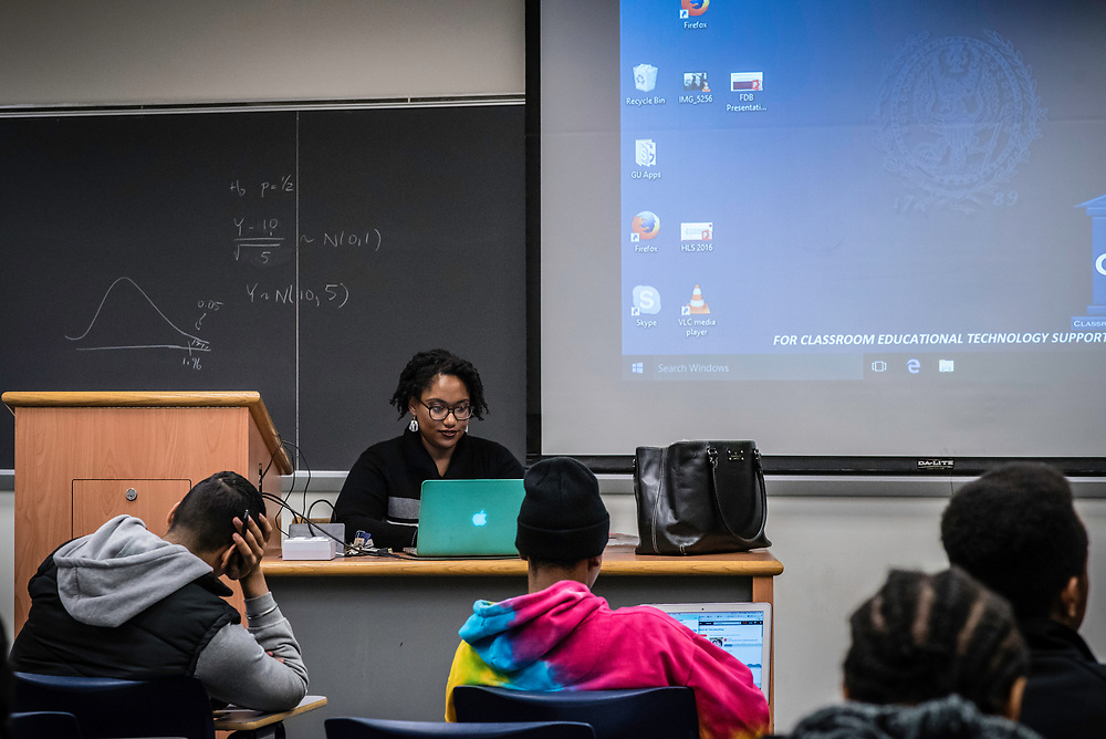 WASHINGTON, DC -- 12/5/16 -- Marcia Chatelain in her African American Studies class. Marcia Chatelain is an Associate Professor of History at Georgetown. She has spurred the development of the syllabus as a tool for social justice.…by André Chung #_AC25204