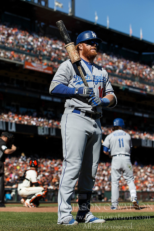 SAN FRANCISCO, CA - OCTOBER 02: Justin Turner #10 of the Los Angeles Dodgers stands on deck before an at bat against the San Francisco Giants during the eighth inning at AT&T Park on October 2, 2016 in San Francisco, California. The San Francisco Giants defeated the Los Angeles Dodgers 7-1. (Photo by Jason O. Watson/Getty Images) *** Local Caption *** Justin Turner