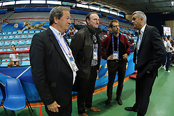 Belgium head coach Gert Vande Broek talks with Mr. Koen Algoed cabinet chief of flemish sport minister, Pol Rowe BLOSO general director and Belgium volleyball president Willy Bruninx