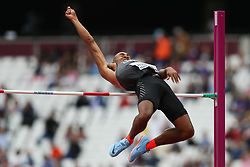 London, August 11 2017 . Damian Warner, Canada, in the men's decathlon high jump on day eight of the IAAF London 2017 world Championships at the London Stadium. © Paul Davey.