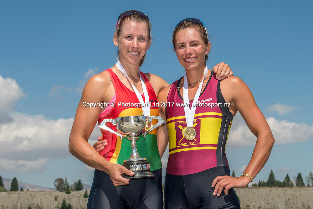 Brooke Donoghue and Hannah Osborne (Waikato RPC) - winners Premier double , NZ Rowing Championships, 17 February 2017 , Lake Ruataniwha © Copyright photo: Steve McArthur / www.photosport.nz