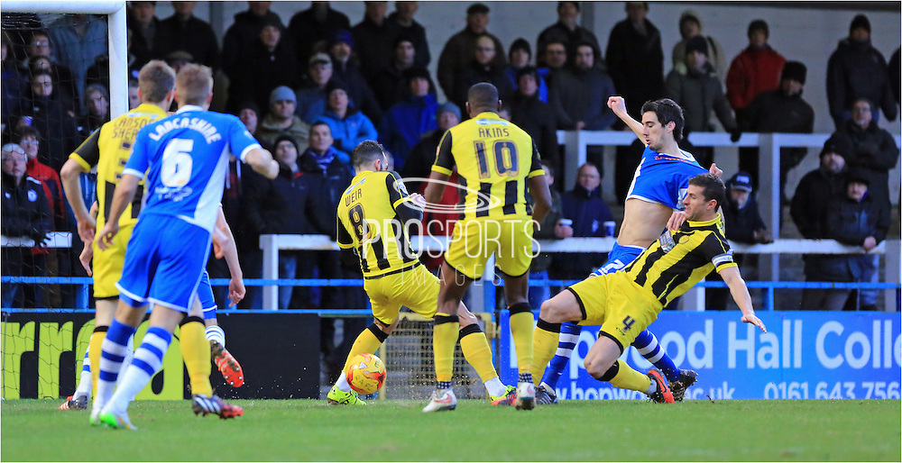 Peter Vincenti, Phil Edwards late chance during the Sky Bet League 1 match between Rochdale and Burton Albion at Spotland, Rochdale, England on 30 January 2016. Photo by Daniel Youngs.
