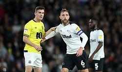 Derby County's Richard Keogh keeps Blackburn Rovers' Darragh Lenihan at bay