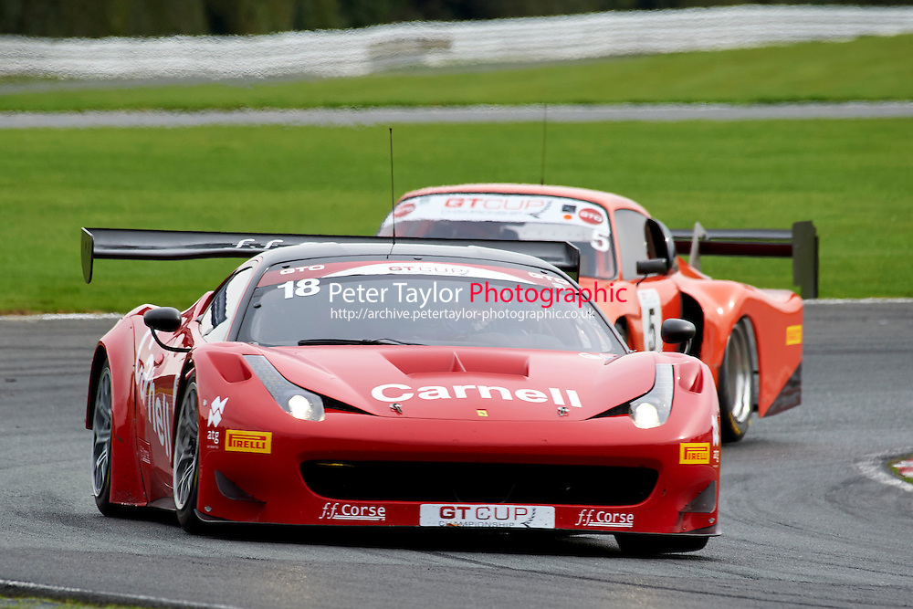 #18 Darren NELSON Ferrari 458 GT3 during GT Cup - Race 1 as part of the MSVR Oulton Park 10th October 2015 at Oulton Park, Little Budworth, Cheshire, United Kingdom. October 10 2015. World Copyright Taylor/PSP. Copy of publication required for printed pictures.  Every used picture is fee-liable. http://archive.petertaylor-photographic.co.uk
