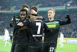 11.12.2014, Borussia Park, Moenchengladbach, GER, UEFA EL, Borussia Moenchengladbach vs FC Zuerich, Gruppe A, im Bild vl: Ibrahima Traore (Borussia Moenchengladbach #8), Patrick Herrmann (Borussia Moenchengladbach #7) und Oscar Wendt (Borussia Moenchengladbach #17) beim Torjubel nach dem Treffer zum 1:0 // during the UEFA Europaleague Group A match between Borussia Moenchengladbach and FC Zuerich at the Borussia Park in Moenchengladbach, Germany on 2014/12/11. EXPA Pictures &copy; 2014, PhotoCredit: EXPA/ Eibner-Pressefoto/ Schueler<br /> <br /> *****ATTENTION - OUT of GER*****