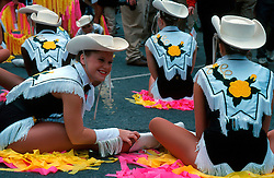 IRELAND DUBLIN 17MAR00 - Girls from a US American High School stretch before marching during the St. Patrick's Day celebrations in Dublin. ..jre/Photo by Jiri Rezac..© Jiri Rezac 2000..Contact: +44 (0) 7050 110 417.Mobile:  +44 (0) 7801 337 683.Office:  +44 (0) 20 8968 9635..Email:   jiri@jirirezac.com.Web:     www.jirirezac.com..© All images Jiri Rezac 2000 - All rights reserved.