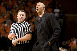 Virginia head coach Dave Leitao talks with an official during the BC game.  The Virginia Cavaliers men's basketball team defeated the Boston College Golden Eagles 84-66 at the John Paul Jones Arena in Charlottesville, VA on January 19, 2008.