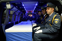 Sept. 29, 2016 - Jerusalem, Israel - - The coffin of former Israeli President SHIMON PERES  is seen inside a special army vehicle as it is transferred from Tzrifim army base to Jerusalem. Israel's former president and its eldest statesman Shimon Peres passed away in a hospital outside Tel Aviv Wednesday morning. (Credit Image: © Yossi Zeliger/Xinhua via ZUMA Wire)