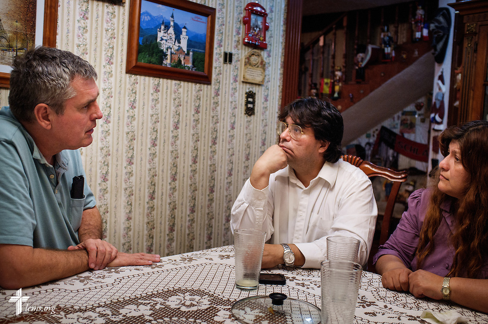 The Rev. Daniel Conrad,  LCMS missionary to Mexico, teaches Alejandro Arevalo and his wife at their home in Mexico City on Friday, Feb. 12, 2016.  LCMS Communications/Erik M. Lunsford