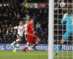 Thomas Ince of Derby County (L) has a shot at goal - Mandatory by-line: Jack Phillips/JMP - 09/08/2016 - FOOTBALL - iPro Stadium - Derby, England - Derby County v Grimsby Town - EFL Cup First Round
