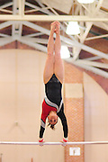 January 17, 2010; Stanford, CA, USA; Stanford Cardinal gymnast Carly Janiga performs on the bars during the meet against the Arizona Wildcats at Burnham Pavilion. The Cardinal defeated the Wildcats 196.025-194.675. Mandatory Credit: Kyle Terada-Terada Photo