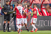 UTRECHT - 21-08-2016, FC Utrecht - AZ, Stadion Galgenwaard, wissel, debuut  FC Utrecht speler Richairo Zivkovic , FC Utrecht speler Rubio Rubin