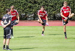 17.07.2014, Alois Latini Stadion, Zell am See, AUT, Bayer 04 Leverkusen Trainingslager, im Bild v.l.: Vladlen Yurchenko (Bayer 04 Leverkusen), Hakan Calhanoglu (Bayer 04 Leverkusen), Stefan Reinartz (Bayer 04 Leverkusen) // f.l.: Vladlen Yurchenko (Bayer 04 Leverkusen), Hakan Calhanoglu (Bayer 04 Leverkusen), Stefan Reinartz (Bayer 04 Leverkusen) during a Trainingssession of the German Bundesliga Club Bayer 04 Leverkusen at the Alois Latini Stadium, Zell am See, Austria on 2014/07/17. EXPA Pictures © 2014, PhotoCredit: EXPA/ JFK