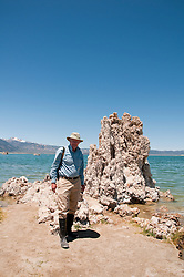 Travel Journalist, Lee Foster, tufas, Mono Lake; Mono Basin National Forest Scenic Area, California, USA.  Photo copyright Lee Foster.  Photo # california120996