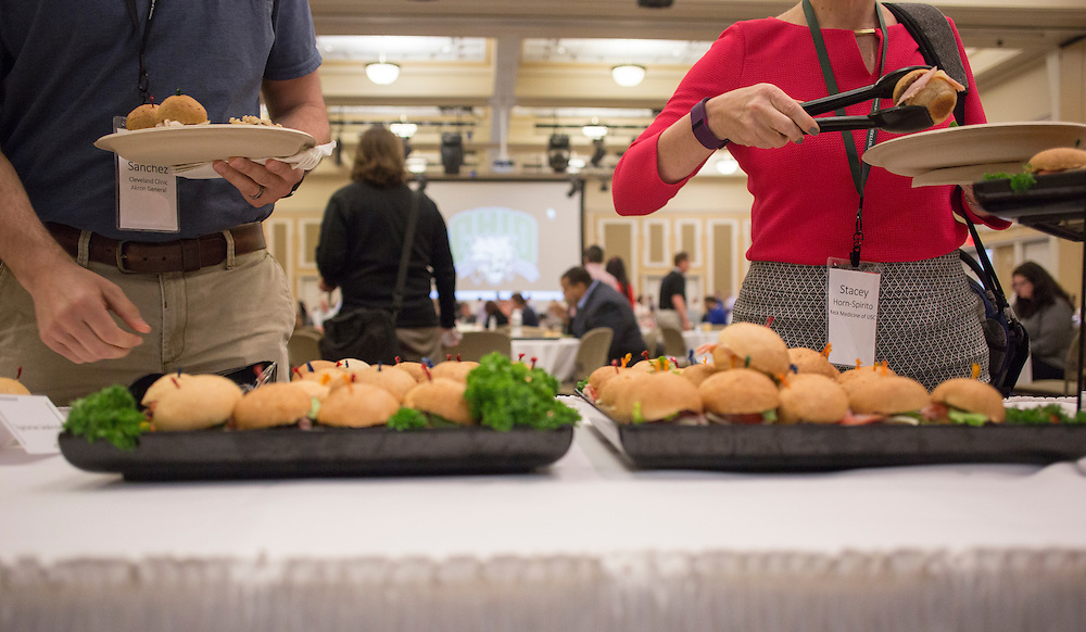 Attendees of the College of Business Center for Leadership Event get lunch in Baker Ballroom on April 23, 2016.