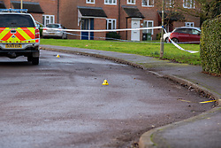 © Licensed to London News Pictures. 09/01/2020. Didcot, UK. Forensic officers gather evidence on Mendip Heights as Thames Valley Police investigate an incident in the Mendip Heights estate in Didcot. Photo credit: Peter Manning/LNP