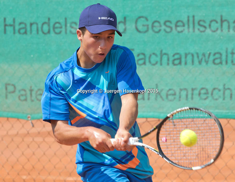 Mariano Hasenkopf (GER), Tennis Europe,M&uuml;nchen Junior Open BS16<br /> <br /> Tennis - Audi GW plus Zentrum M&uuml;nchen Junior Open 2015 - ITF Junior Tour -  SC Eching - Eching - Bayern - Germany  - 12 August 2015. <br /> &copy; Juergen Hasenkopf