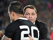 JOHANNESBURG, South Africa, 04 October 2014 : Coach of the All Blacks, Steve Hanson appreciates Liam Messam's effort after the Castle Lager Rugby Championship test match between SOUTH AFRICA and NEW ZEALAND at ELLIS PARK in Johannesburg, South Africa on 04 October 2014. <br /> The Springboks won 27-25 but the All Blacks successfully defended the 2014 Championship trophy.<br /> <br /> © Anton de Villiers / SASPA