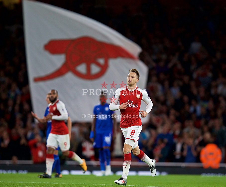 LONDON, ENGLAND - Friday, August 11, 2017: Arsenal's Aaron Ramsey celebrate scoring the third goal to equalise at 3-3 during the FA Premier League match between Arsenal and Leicester City at the Emirates Stadium. (Pic by David Rawcliffe/Propaganda)