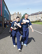 Stephen O'Donnell and Robert Douglas lead the Dundee squad on the short walk from Dens to Tannadice - Dundee United v Dundee, Clydesdale Bank Scottish Premier League at Tannadice.. - © David Young - 5 Foundry Place - Monifieth - DD5 4BB - Telephone 07765 252616 - email: davidyoungphoto@gmail.com - web: www.davidyoungphoto.co.uk