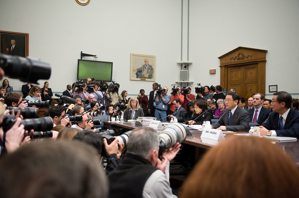 Toyota President and CEO Akio Toyoda, seated, center, testifies before a House Government Reform Committee hearing on the recent recalls on Toyota vehicles on Wednesday, Feb. 24, 2010 in Washington.