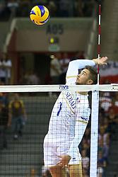 06.09.2014, Krakow Arena, Krakau, POL, FIVT WM, USA vs Frankreich, Gruppe D, im Bild Kevin Tillie (FRA) // during the FIVB Volleyball Men's World Championships Pool B Match beween USA and France at the Krakow Arena in Krakau, Poland on 2014/09/06.<br /> <br /> ***NETHERLANDS ONLY***