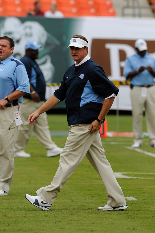 Sepember 27, 2008 - Miami Gardens, FL<br /> <br /> University of North Carolina head coach Butch Davis in action during the Tar Heels 28-24 victory over the Miami Hurricanes at Dolphin Stadium in Miami Gardens, Florida.<br /> <br /> JC Ridley/CSM