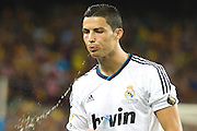 Cristiano Ronaldo spits out a mouthfull of water before kick off.  Barcelona v Real Madrid, Supercopa first leg, Camp Nou, Barcelona, 23rd August 2012...Credit - Eoin Mundow/Cleva Media