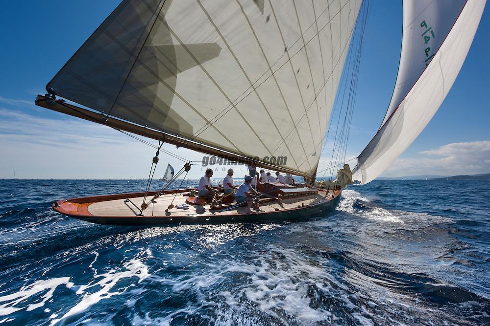 October 2014 Classic Yacht Olympian Sailing in Saint Tropez during the Voiles de Saint Tropez