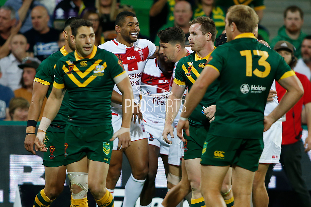 Jermaine Mcgillvary of England scores the opening try during the Rugby League World Cup match between Australia and England at Melbourne Rectangular Stadium, Melbourne, Australia on 27 October 2017. Photo by Mark  Witte.